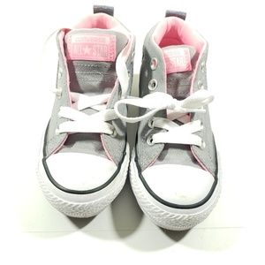 Converse girls Gray and pink high top converse 12